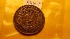 Canada Pre Confederation Nova Scotia 1864 One Cent Coin ID#a447.