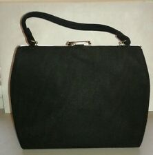 Vintage 1950's Large Cloth Black Frame Handbag Secretary Ad Man