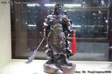 "18"" Chinese Bronze copper Dragon Guan Gong Guan Yu Hold broadsword Knight Statue"