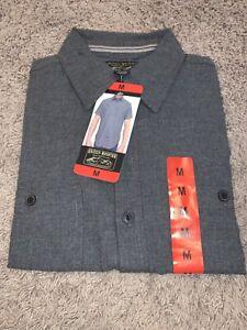 NWT Men's Grizzly Mountain Gray MEDIUM Button-Up Short Sleeve Woven Shirt