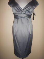 ME too sheath DRESS size 12 NEW&tags $199 smoke grey satin portrait neck evening