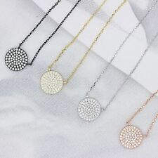 Circle Disc Necklace, 14k Gold Plated Sterling Silver Necklace, Micro Pave CZ Di