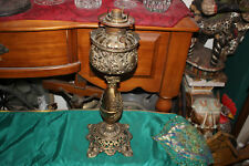 Antique Victorian Art Deco Converted Oil Lamp-Brass Metal-Gilded Gold Scrolls