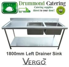 Stainless Steel Commercial Catering Kitchen Sink 1800mm Double Bowl Left Drainer