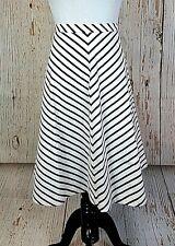 Lands End Womens Skirt New 14/16 Striped Blue White A Line Midi Elastic Waist
