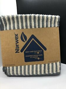 New Norwex Product! Body Face Cloth Pack (Set of 3) - Grey/Vanilla Stripes