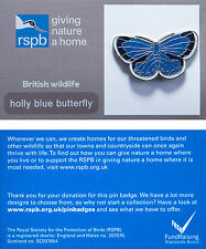 RSPB Pin Badge   Holly Blue Butterfly   GNaH backing card [00282]