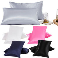 2Pcs Queen King Satin Silk Pillowcase Pillow Case Cover Home Bedding Smooth US