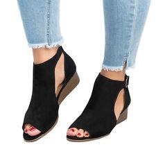 Womens Ladies Flat Wedge Espadrille Lace Tie up Sandals Platform Peep Toe Shoes