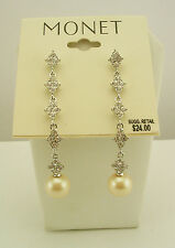 Monet Faux Pearl and Crystal Drop Earrings