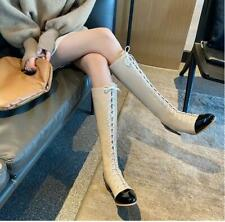 Women's Lady Patent Leather Round Toes Lace Up Chunky Heels Mid-calf Boots