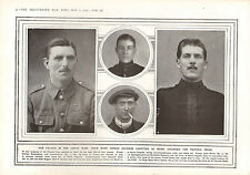 1915 WWI PRINT ~ HEROIC SOLIDERS AWARDED VICTORIA CROSS VALOUR BRAVE ACT DANIELS
