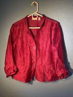 Chicos Top Sz 1 Button 3/4 Sleeve Pink  Linen Nylon Semi Sheer Blazer Medium