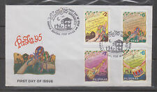 Philippine Stamps 1995 Christmas (Musical Instruments) Complete set on FDC
