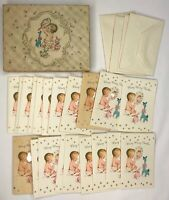 """Vintage Box Of 20 """"Many Many Thanks"""" For Baby's Gift Cards And Envelopes Unused"""