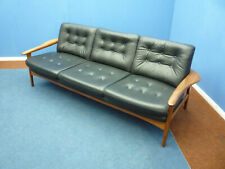 Very beautiful Teak Leather Sofa, 1960s TOP CONDITION