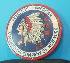 VINTAGE AMERICAN PEERLESS GASOLINE PORCELAIN STANDARD OIL SERVICE INDIAN SIGN