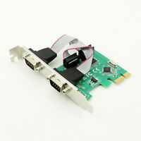 PCI-E Express to Dual Serial DB9 RS232 RS-232 2-Port Controller Adapter Card
