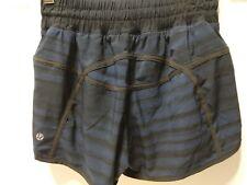 """Lululemon Hotty Hot Shorts Size 4  Stripes Black Purple EUC 4"""" Inseam Lined"""