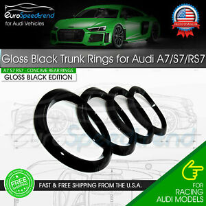Audi A7 Rear Rings S7 RS7 Gloss Black Rear Trunk Emblem Lid Concave Curve Badge