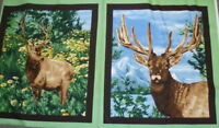 American Elk beautiful wildlife panel Exclusively Quilters fabric