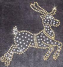 Gold Reindeer Motif Iron-on Rhinestone Diamante CRHISTMAS Xmas Tshirt Transfer