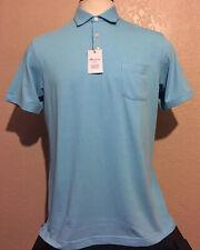 Peter Millar Clutch Cotton Stretch Pique Golf Polo Bluefish Men's Medium