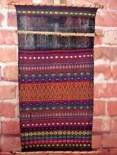 Handcrafted Woven Wall Hanging Partially Complete Multi-Color 35 x 17-3/4""