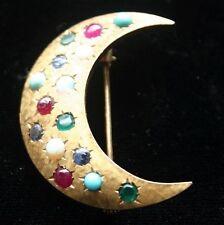 Multi Stone Pin Victorian Crescent Moon 14K