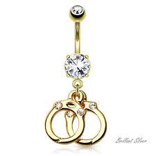 Bauchnabelpiercing Gold Nabel Stecker Anhhänger Habdschellen Kristalle Weiß