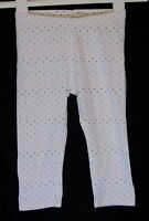 Girls H&M White Pink Blue Spot Stretch Cropped Short Leggings Age 7-8 Years