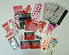 Valentines Day Lot Heart Gift Treat Bags Tissue Paper Stickers Cupcake Toppers