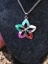 Stunning Fire Opal Flower Necklace 18k White Gold Filled