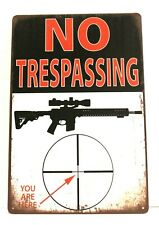 Warning No Trespassing Violators will be Shot Gun Owner Tin Metal Poster Sign