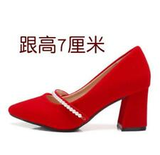 Women's Red Wedding Shoes Pointed Pumps Block Heel Faux Suede OL Pearl Shoes
