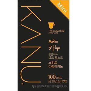Korea Maxim Premium Instant Coffee KANU Mini Dark Sweet Americano 100Sticks