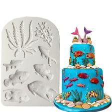 3D Fish Seaweed Silicone Fondant Mold Cake Border Decorating Tools DIY Moulds