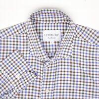 Ledbury Mens Dress Shirt 16/35 Blue Brown White Check Spread Collar Cotton MOP