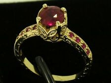R182- VINTAGE style 9ct SOLID Gold Natural RUBY & Diamond Engagement Ring size M