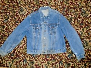 Vintage Levis Type 3  Big E Faded and distressed Trucker Jean Jacket USA