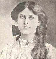 Miss Zena Dare actress postcard antique portrait brooch bow long hair cute