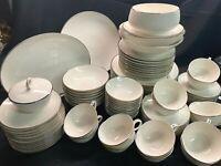 Noritake Ivory China Montblanc White Floral Platinum Rim #7527 82 Pcs. EUC!