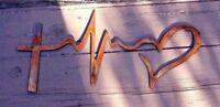 Metal Wall Art Faith Hope Love Symbolic/ Heartbeat Metal Art