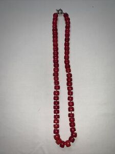 vintage womens red coral necklace