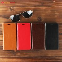 Luxury Genuine Leather Wallet Flip Case Stand Cover For Samsung Galaxy Models