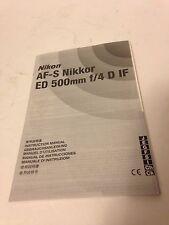 Instruction Manual Nikon Af-S Nikkor Ed 500mm f/4 D If