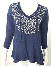 Style & Co. Small Layered Look Navy Blu White Embroidered Floral Boho Blouse NWT
