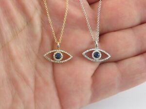 """14k Gold Diamond And Sapphire Evil Eye necklace In Yellow And White 16"""" 18"""" 20"""""""