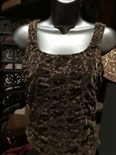 Vintage Brown Embroidered Velvet Stretch Gothic Corset Bustier Top