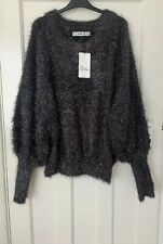 ZARA GREY OVERSIZED METALLIC THREAD TEXTURED PUFF SLEEVE SWEATER SIZE M BNWT